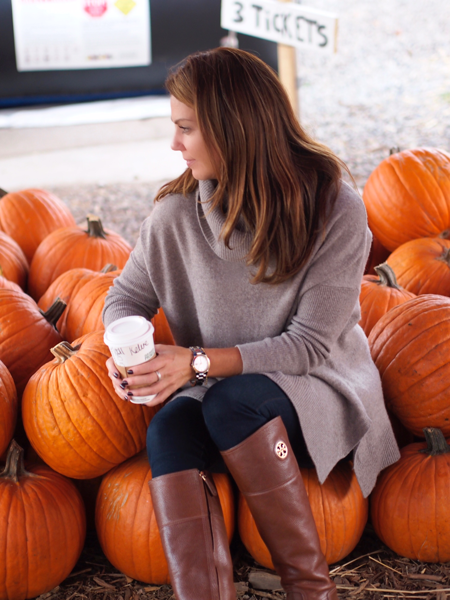 Sitting, Pumpkins, Fall, Starbucks, coffee, fall, Cashmere, burberry, Boots, Tory Burch